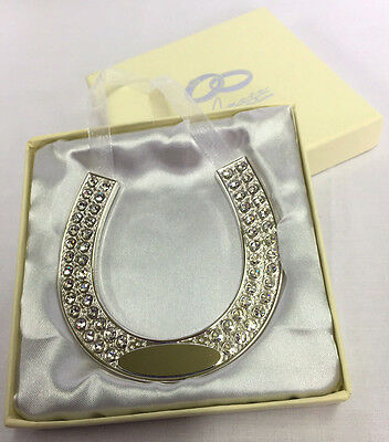 Brides Horse Shoe Amore by Juliana Silver Plated Crystal Studded Engraved WG539