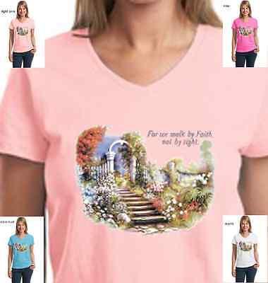 New Religious Christian Walk By Faith Jesus My God  Prayer Cross Womens T-Shirt