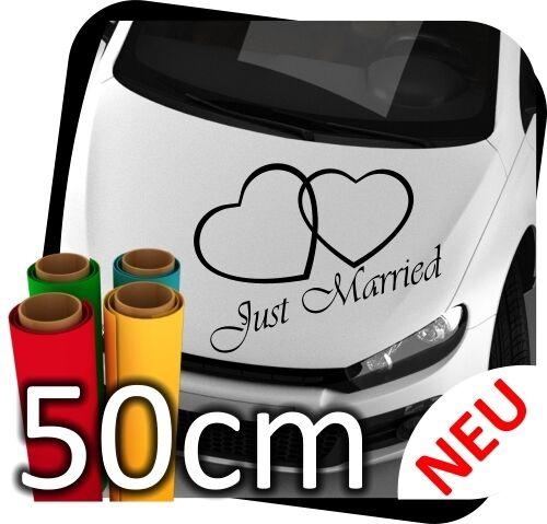 4 50cm Just Married Mariage épouser coeur des autocollants sticker autocollant No