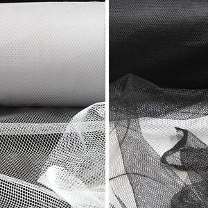 1-METRE-SOFT-NETTING-MATERIAL-MESH-BLACK-WHITE-FASCINATORS-DRESSMAKING-LACE-DIY