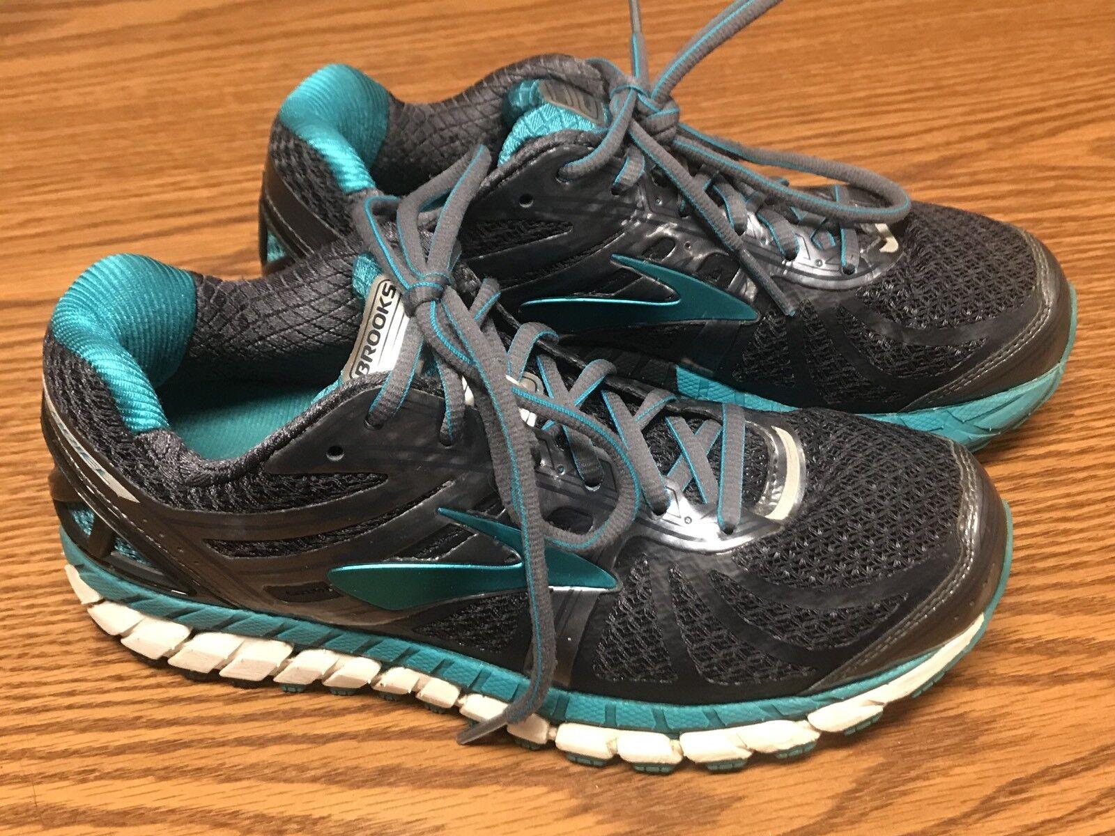 Brooks Ariel 16 Femme Gris Blanc Aqua Bleu Running Chaussures Sneakers  US 7 EU 38