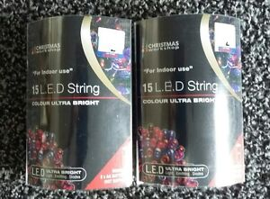 2 x 15 LED string ultra bright multi coloured lights battery operated NEW bnip