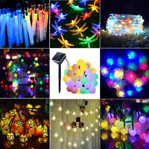 30-50-70-100-200-LED-Solar-Lichterkette-Aussen-kette-Weihnachtsbaumkette-Garten