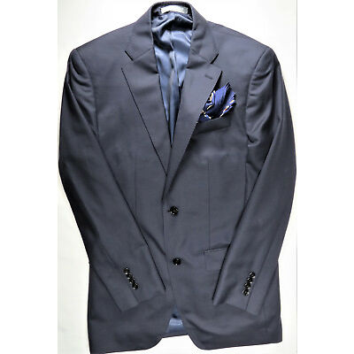 INDOCHINO Mens Blazer Jacket Coat Suit Wool Cashmere Navy Slim 40 L NEW