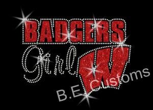 Wisconsin Badgers girl glitter Iron-on Glitter Vinyl /& Rhinestone Transfer