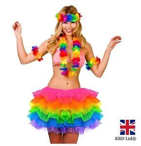 Image is loading HAWAIIAN-FANCY-DRESS-TUTU-COSTUME-Girls-Hula-Lei-  sc 1 st  eBay & HAWAIIAN FANCY DRESS TUTU COSTUME Girls Hula Lei Luau Garland Hen ...