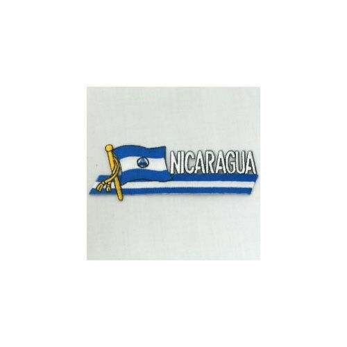 NICARAGUA SIDEKICK WORD COUNTRY FLAG IRON-ON PATCH CREST BADGE 1.5 X 4.5 IN.