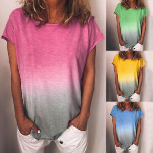 Women-039-s-Casual-Gradient-Color-Short-Sleeved-T-Shirt-Loose-Summer-Blouse-Tops