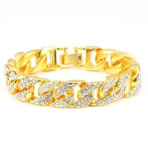 Men-039-s-Hip-Hop-Gold-Silver-Plate-Crystal-Iced-Out-Miami-Cuban-Chain-Link-Bracelet