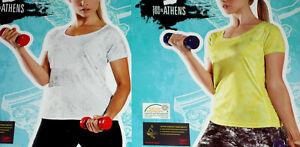 Damen-FUNKTIONSSHIRT-Fitnessshirt-Laufshirt-weiss-gelb-Gr-XS-S-M-NEU