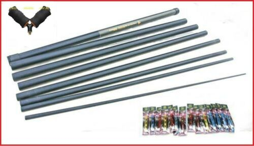 8m Quickfish  Margin Pole Ready 14 Elastic Fitted 14 Carp Pole Rigs /& Roller