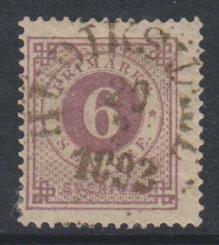 Sweden 1890, 6 ore Mauve stamp Blue Posthorn on back GU SG 33a