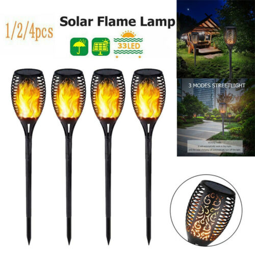 1-4X 33LED solaire Flamme Torche Light Dancing clignotante flamme jardin Pathway lampe
