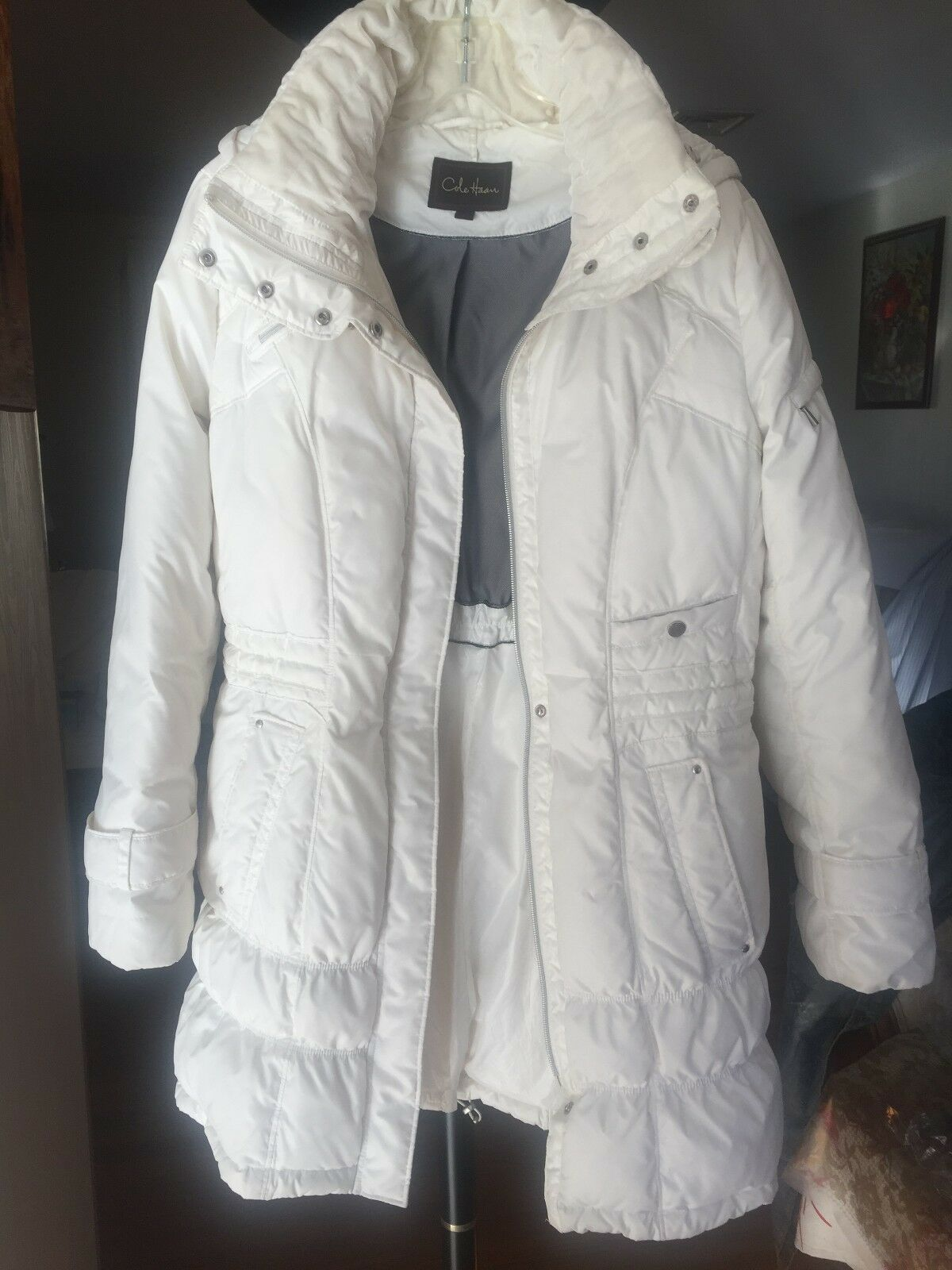Cole Haan Womens White Quilted Down Coat w  Detachable Hood - size M