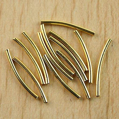 200 Pcs 1.4x20mm gold-tone curved tube beads h0473