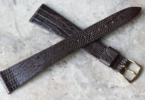 Long-highly-tapered-19mm-vintage-watch-band-teju-lizard-pattern-Leather-c-1960s