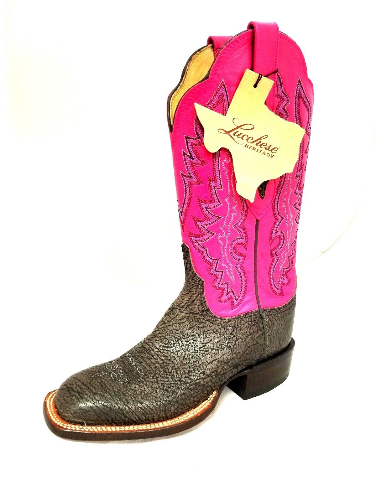 WOMEN'S LUCCHESE HY5502.WF GREY ANTHRACITE/ HOT PINK WESTERN BOOTS