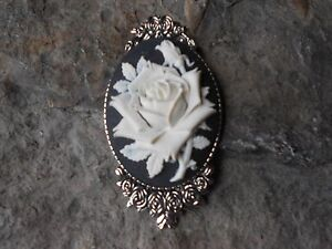 70789b264f1 GORGEOUS ROSE CAMEO BROOCH- PIN- (WHITE, BLACK) -- STUNNING, FLORAL ...