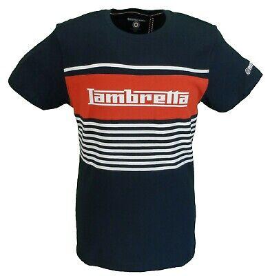 Lambretta Mens White//Navy Striped Retro T Shirt