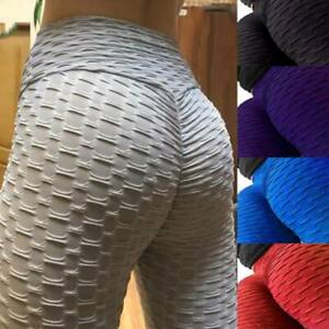 Womens High Waist Yoga Pants Gym Leggings Anti-Cellulite Scrunch Solid Trousers