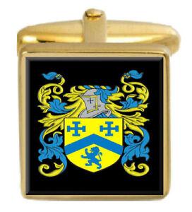 Wybery England Familie Wappen Familienname Gold Manschettenknöpfe Graviert Kiste Weder Zu Hart Noch Zu Weich