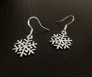 Snowflake-Sterling-Silver-925-Hook-earrings-Christmas-gift-for-her-mum-nan-idea