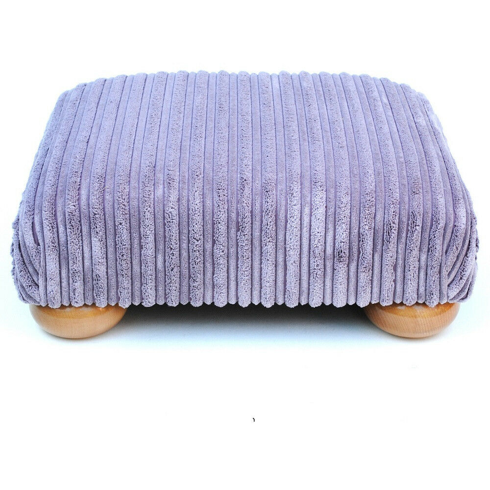 Biagi Upholstery & Design Soft Pile Lilac Low Footstool with Solid Wood Feet