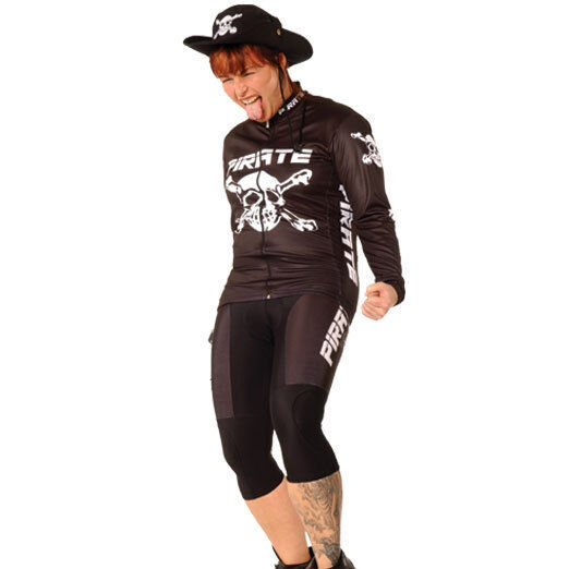 Pirate 3/4 Hose ohne Träger schwarz, Pirat, Skull, Totenkopf