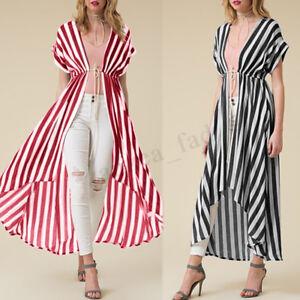 UK Women Polka Dot Short Sleeve Open Front Lace-up Tops Coat Cardigans Plus