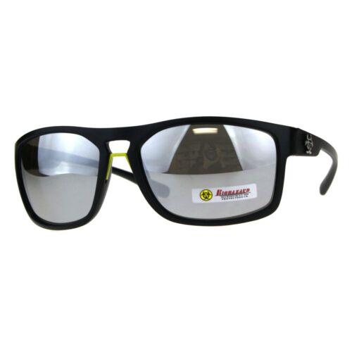 Biohazard Mens Sunglasses Oval Rectangular Matte Frame UV 400
