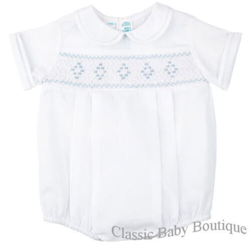 NWT Feltman Bros Brothers Boys White Blue Newborn Size 0 Smocked Romper Baby