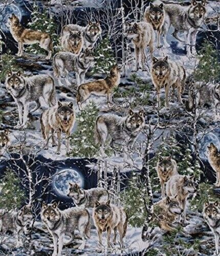 Fat Quarter Howl at The Moon Wolves Wolf Cotton Quilting Sewing Fabric