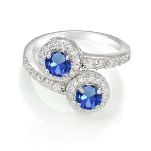 Simulated Tanzanite and Cubic Zirconia Round-cut Halo Friendship Ring