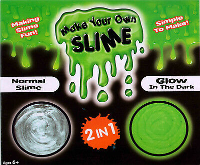 2 In 1 Make Your Own Slime Fai Kit Set Glow Dark & Normale Sicuro Bambini Ty1615 Scelta Materiali