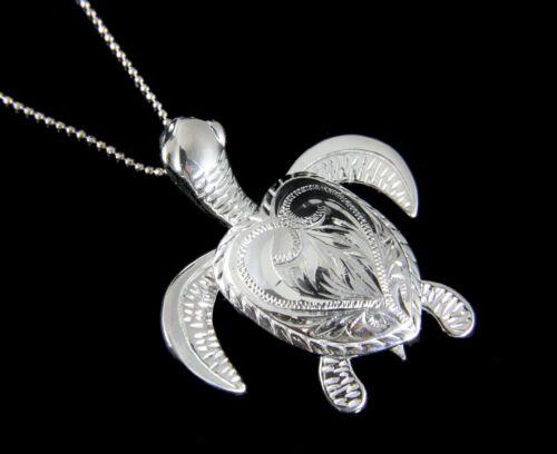 Groß Schwer Sterlingsilber 925 Hawaii Scroll 3D Bewegbar Meeresschildkröte Honu