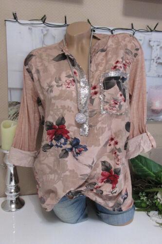 Fischer Camicia Tunica Camicia BLUSA OVERSIZE FIORI ROSA Batik Tunica 40 42 44