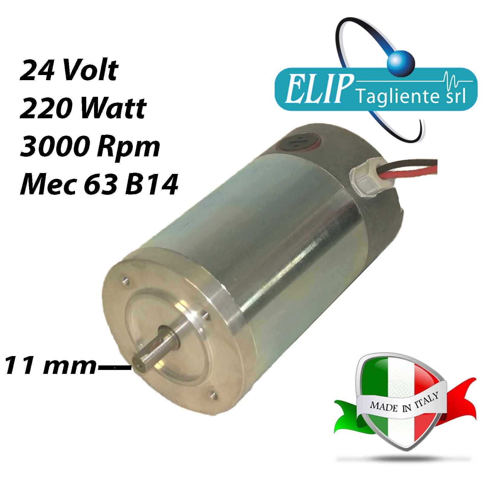 MOTORE ELETTRICO 12V-24V-36V-48V-72V-110VDC 220 WATT 3000 RPM MAGNETI PERMANENTI
