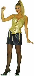 Image is loading Madonna-Womens-Costume-Cone-Bra-Corset-Top-Skirt-  sc 1 st  eBay & Madonna Womens Costume Cone Bra Corset Top Skirt Gold Pointy Singer ...
