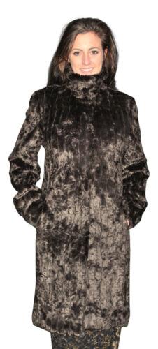 Womens Boutique Brown Astrakhan Fashion Faux Fur Funnel Neck Coat New 10-18