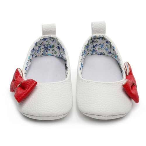 Newborn Toddler Baby Girl Shallow Bow First Walkers Soft Sole Single Shoes 0-15M