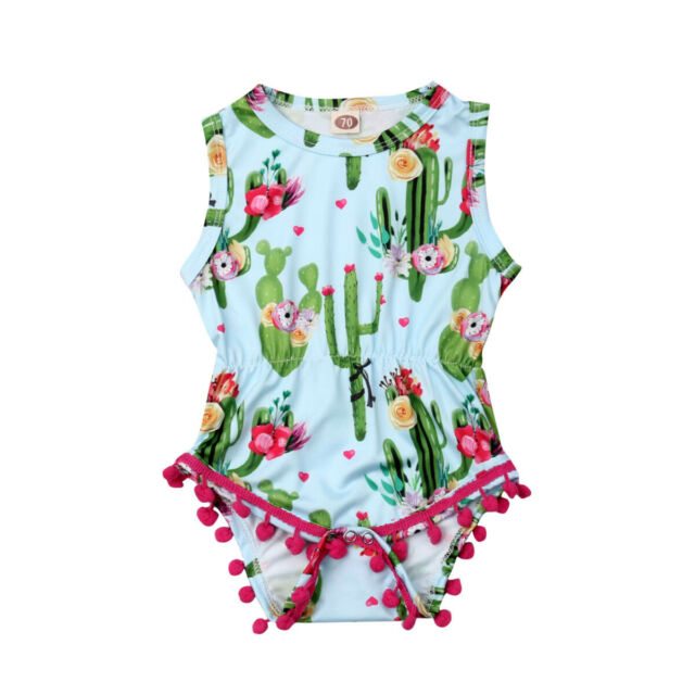 Toddler Baby Girls  Stripe Ruffle Bodysuit Romper Jumpsuit Sunsuit Clothes 0-24M