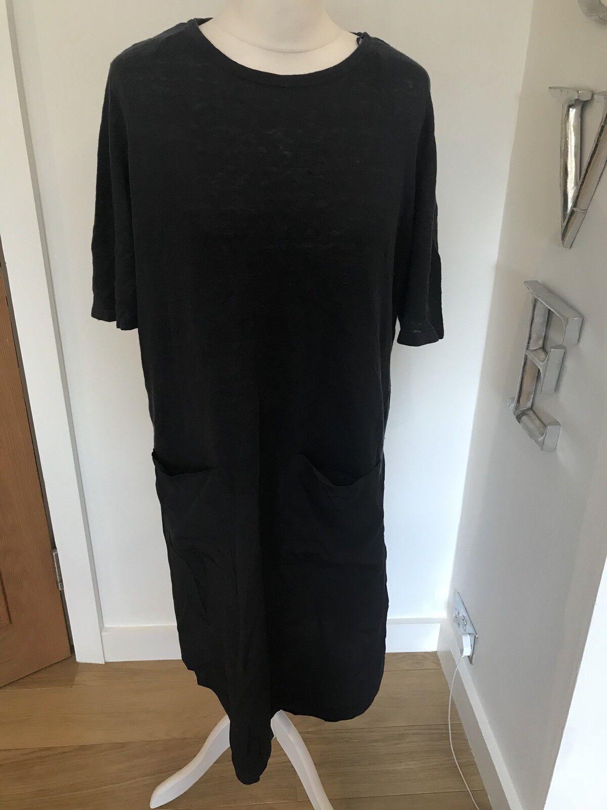 07be246d Goblins COS Navy bluee Linen & Silk Short Sleeve Dress Size M Good Condition