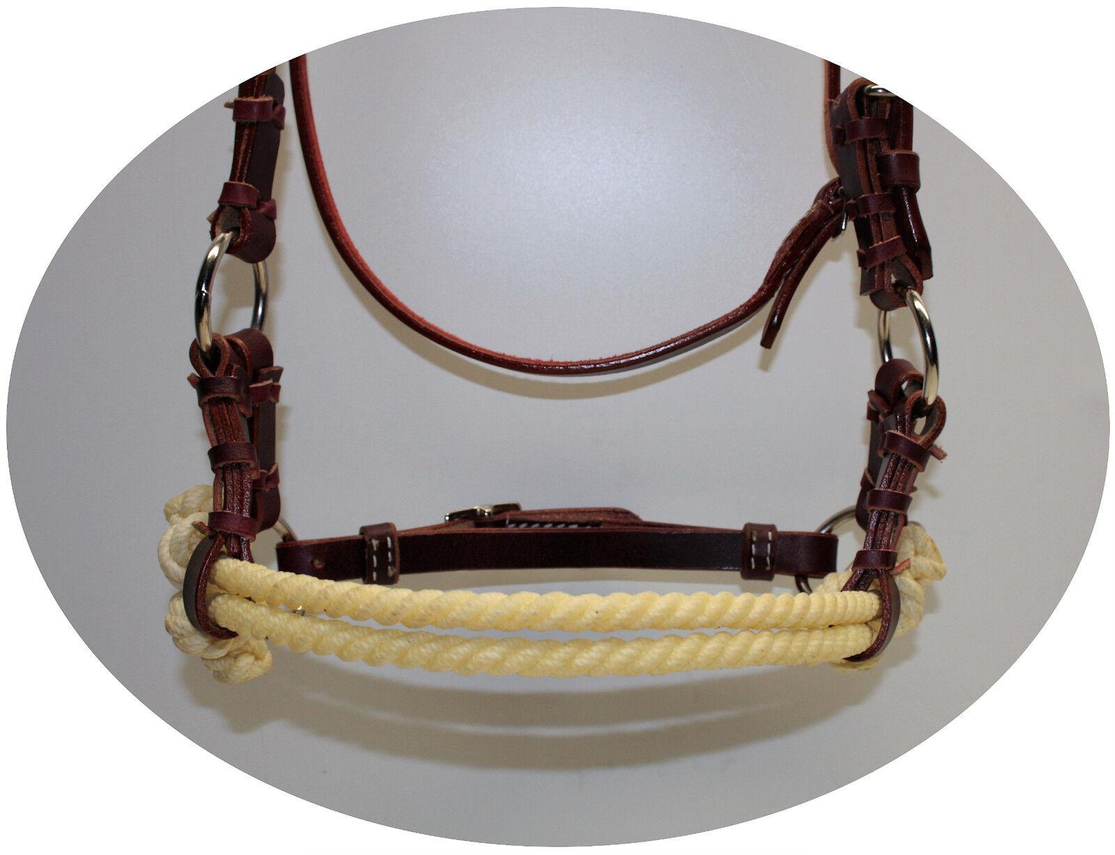 Sidepull harnessleder Double Double Double rope noseband de latigo cuero tamaño full 2bd913