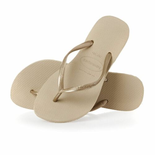 Havaianas Slim Girls Kids Sand Grey Light Golden Rubber Flip Flops All Sizes