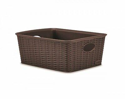 Aufbewahrungskorb Sortierbox Badezimmerkorb Kunststoff Korb Rattan Braun Schale
