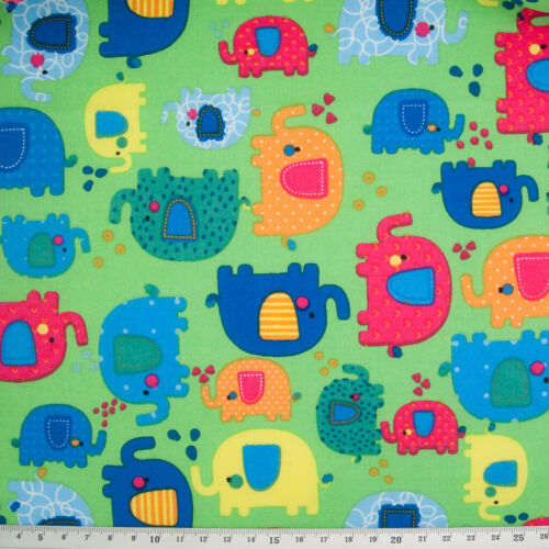 100/% Cotton Poplin Fabric PATCHWORK ELEPHANT LIME GREEN Childrens Kids Material