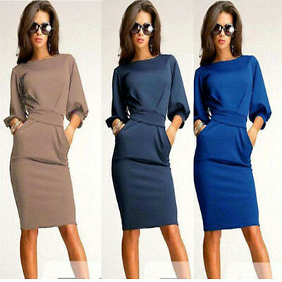Fashion Womens Slim Bodycon Office Lady Work Party Evening Cocktail Pencil Dress