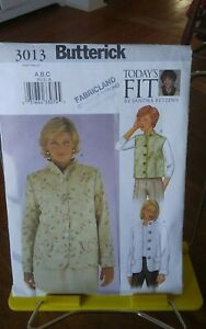 Oop-Butterick-Todays-Fit-3013-misses-jacket-vest-raised-neckline-bust-32-36-034-NEW