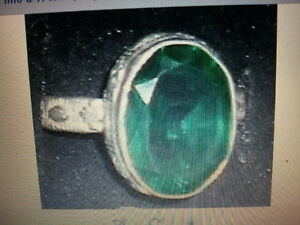 Anello bagno argento indiano verde smeraldo misura indian