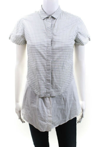 Brunello Cucinelli Womens Button Down Plaid Overla